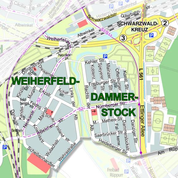 Stadtteilplan Weiherfeld-Dammerstock